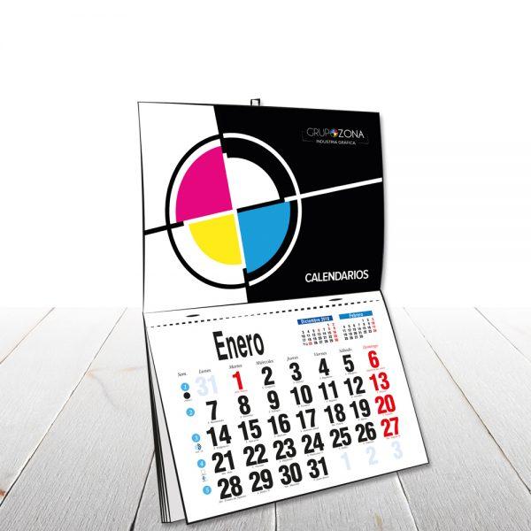 Calendario de pared envarillado personalizados con faldilla - Calendarios de pared envarillados Grupo Zona